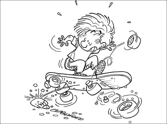 Coloriage et dessins gratuits Skateur comique à imprimer