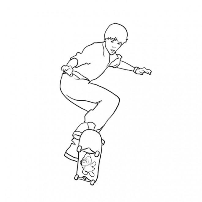 Coloriage skateur en couleur dessin gratuit imprimer - Dessin skateboard ...