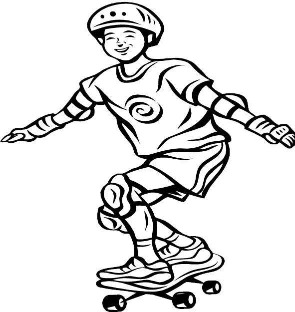 Coloriage et dessins gratuits Skateur s'amuse sur la Planche à imprimer