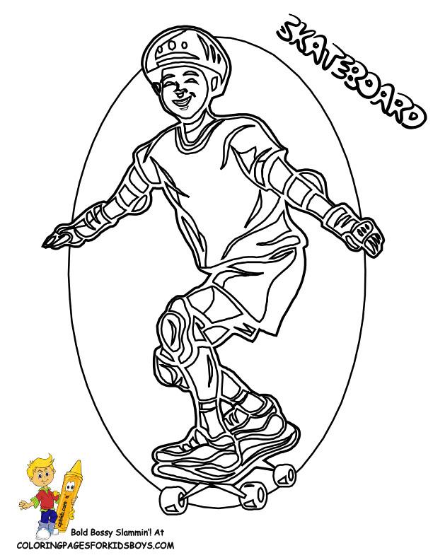 Coloriage et dessins gratuits Skateur super content à imprimer