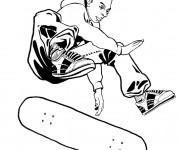 Coloriage Skateur sur Planche Skate
