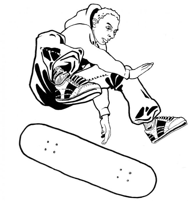 Coloriage skateur sur planche skate dessin gratuit imprimer - Dessin skateboard ...