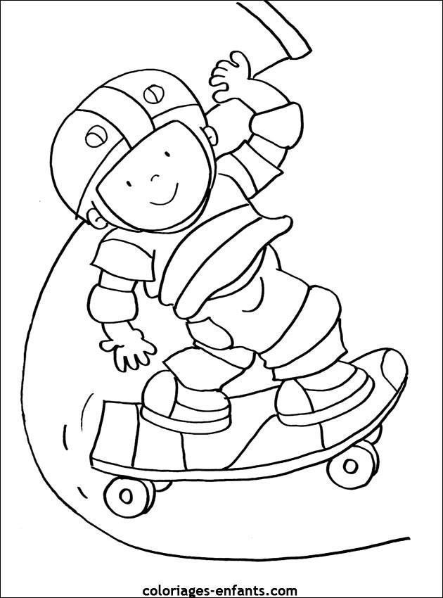 Coloriage et dessins gratuits Skateur sur sa planche à imprimer