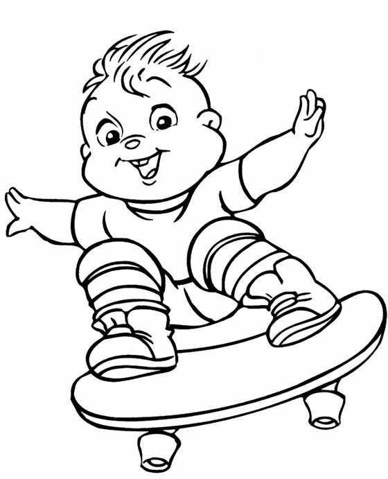Coloriage et dessins gratuits Un Bébé skateur à imprimer