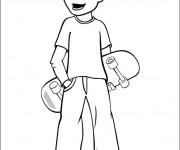 Coloriage Un Garçon portant son Skateboard