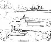 Coloriage et dessins gratuit Bateau et Sous marins militaires à imprimer