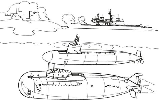 Coloriage et dessins gratuits Bateau et Sous marins militaires à imprimer