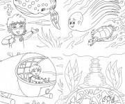 Coloriage et dessins gratuit Petit explorateur des Fonds Marins à imprimer