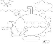 Coloriage et dessins gratuit Sous Marin facile pour enfant à imprimer