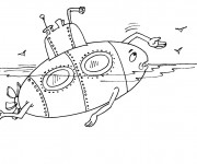 Coloriage et dessins gratuit Sous Marin humoristique à imprimer