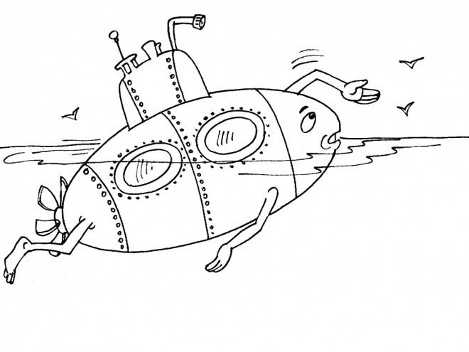 Coloriage et dessins gratuits Sous Marin humoristique à imprimer