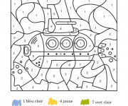 Coloriage et dessins gratuit Sous Marin numéroté à imprimer