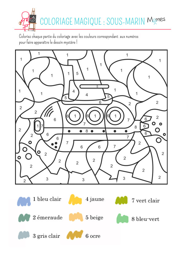 Coloriage et dessins gratuits Sous Marin numéroté à imprimer