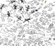 Coloriage et dessins gratuit Sous Marin sous la mer à imprimer