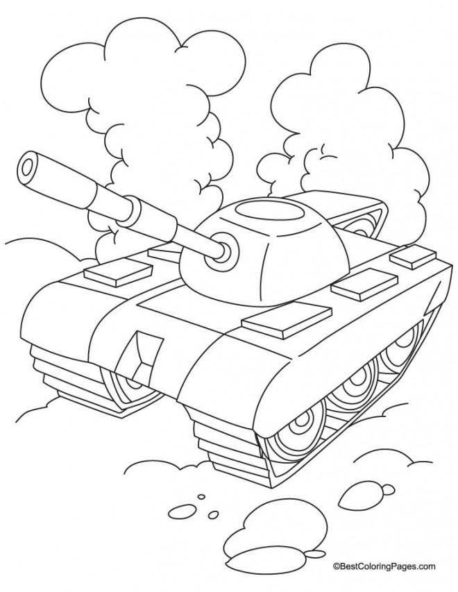 Coloriage et dessins gratuits Char stylisé en noir et blanc à imprimer
