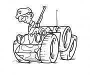 Coloriage Soldat sur petite véhicule militaire