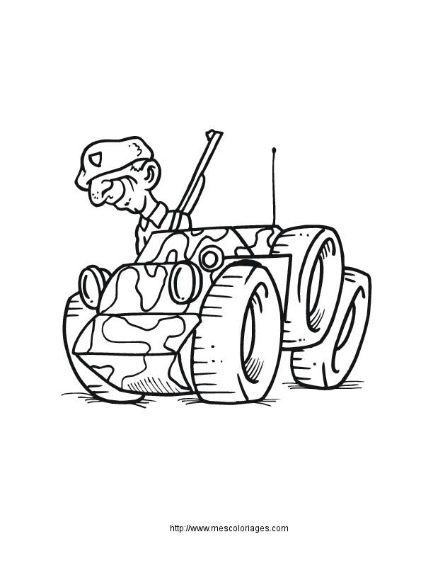 Coloriage et dessins gratuits Soldat sur petite véhicule militaire à imprimer