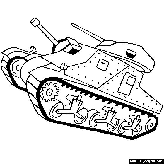Coloriage et dessins gratuits Tank bataille en noir et blanc à imprimer