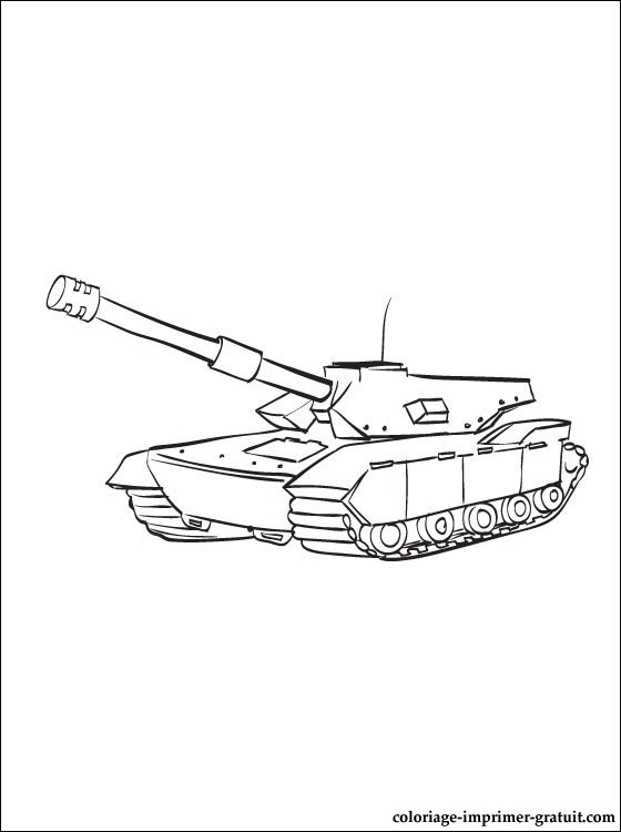Coloriage Tank De Combat Facile Dessin Gratuit à Imprimer