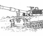Coloriage Tank militaire facile