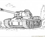 Coloriage Tank  militaire sur le terrain