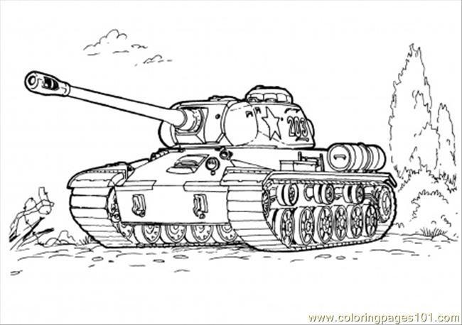 Coloriage et dessins gratuits Tank  militaire sur le terrain à imprimer