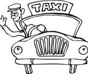 Coloriage Chauffeur de Taxi te salue