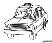 Coloriage Le chauffeur et Taxi