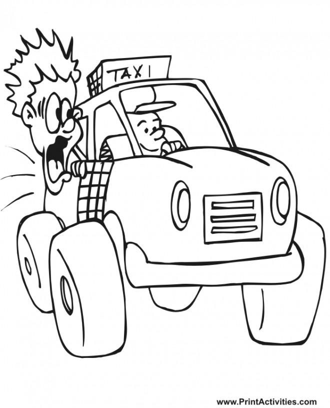 Coloriage et dessins gratuits Le Passager tout effrayé dans le Taxi à imprimer