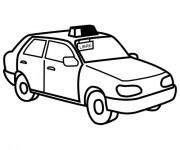 Coloriage Taxi à colorier en Jaune