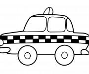 Coloriage Taxi anglais en noir et blanc