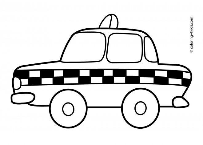 Coloriage Taxi Anglais En Noir Et Blanc Dessin Gratuit A Imprimer