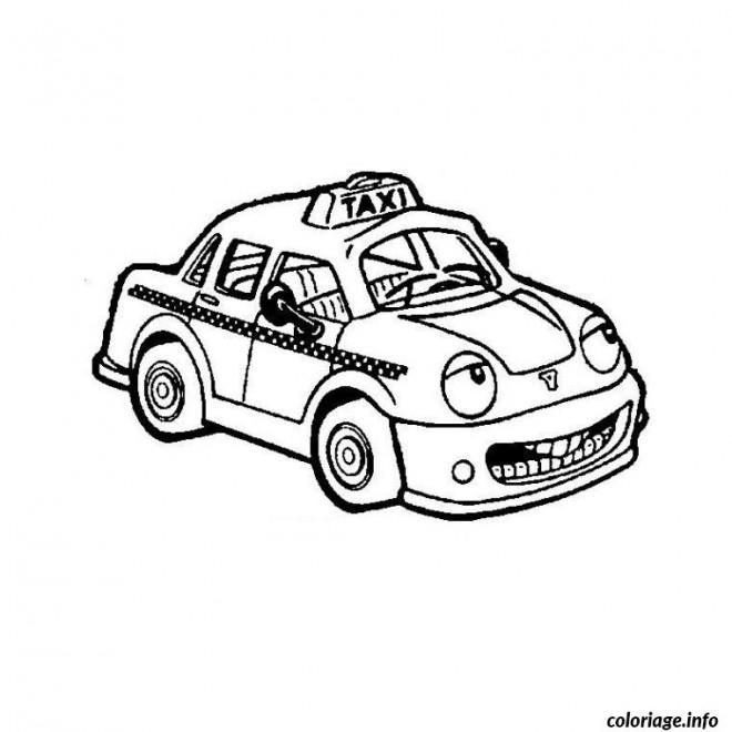 Coloriage et dessins gratuits Taxi avec un visage à imprimer