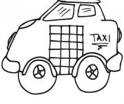 Coloriage et dessins gratuit Taxi dessiné au crayon à imprimer
