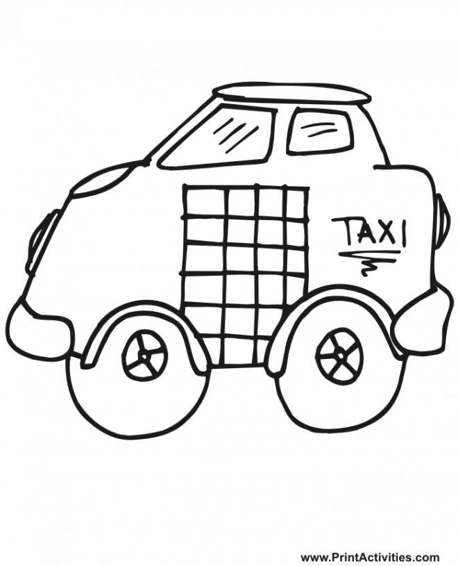 Coloriage et dessins gratuits Taxi dessiné au crayon à imprimer