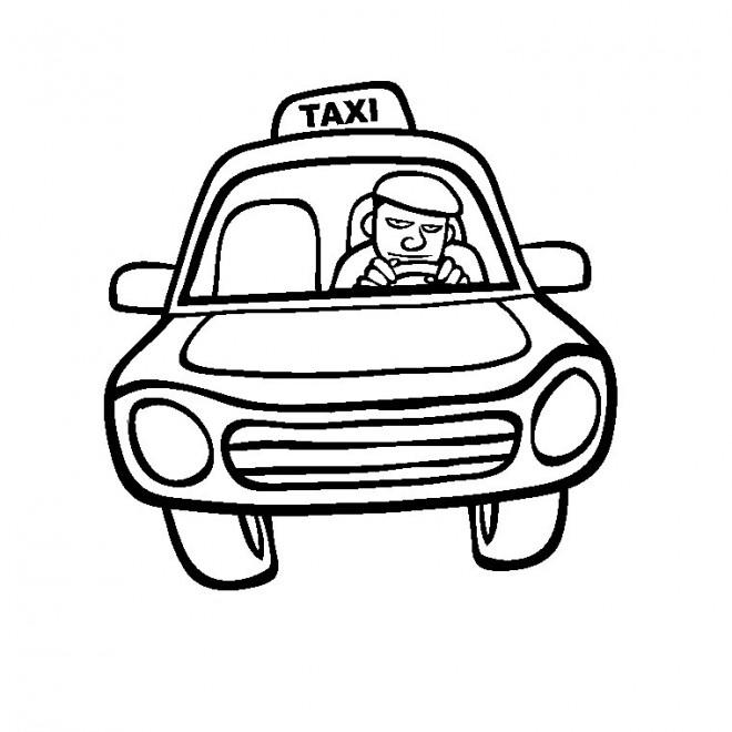 Coloriage Taxi Facile Dessin Gratuit A Imprimer