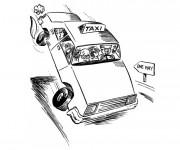 Coloriage Taxi humoristique