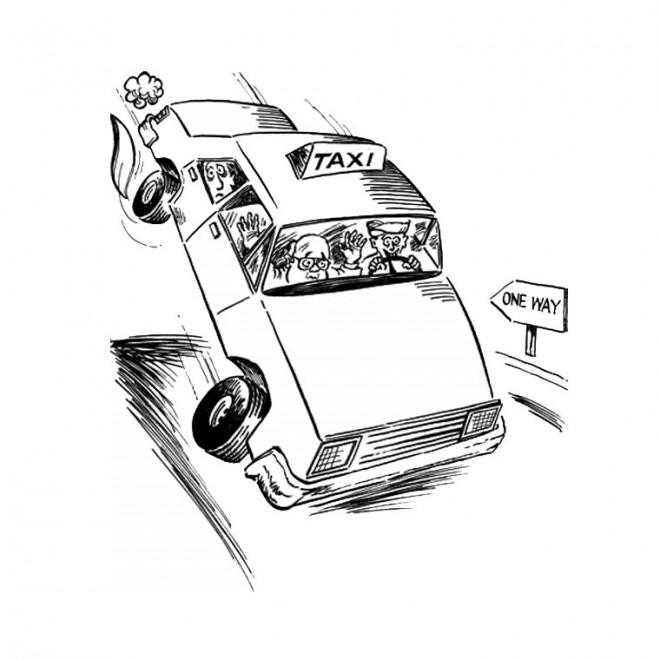 Coloriage et dessins gratuits Taxi humoristique à imprimer