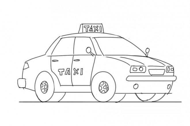 Coloriage Taxi Moyen De Transport Dessin Gratuit A Imprimer