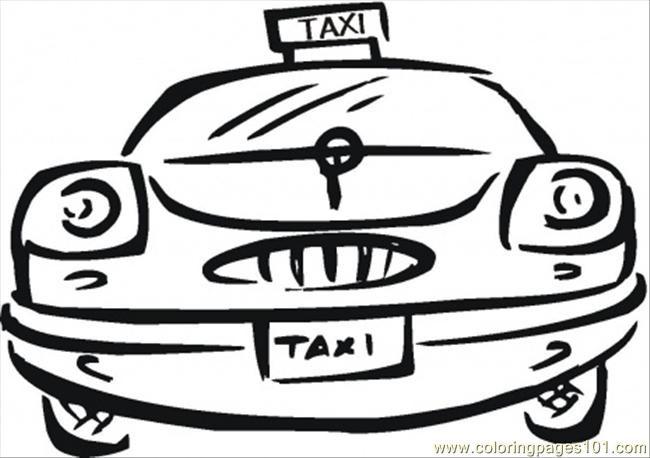 Coloriage et dessins gratuits Taxi vectoriel vue de face à imprimer