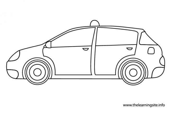 Coloriage Un Taxi à découper dessin gratuit à imprimer