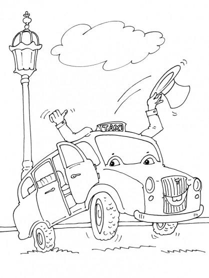 Coloriage et dessins gratuits Un Taxi dessin animé à imprimer