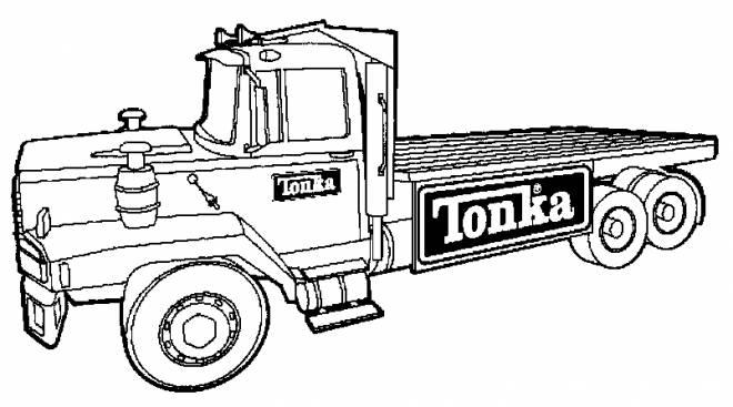 Coloriage Camion plateforme Tonka dessin gratuit à imprimer