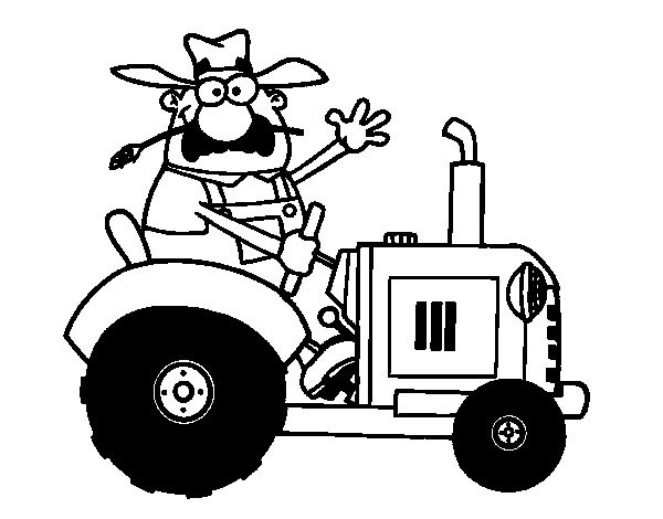 Coloriage et dessins gratuits Le Conducteur de Tracteur te salue à imprimer