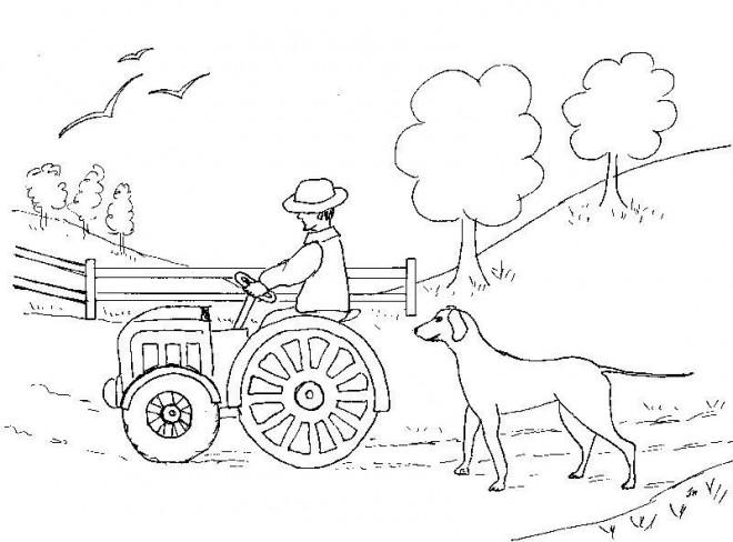 Coloriage et dessins gratuits Le petit Tracteur dans la nature à imprimer