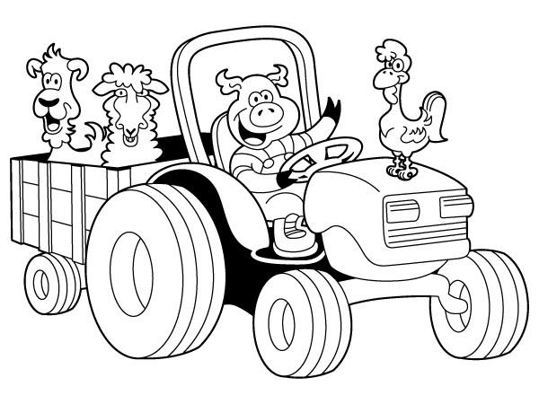 Coloriage De Ferme Avec Tracteur Et Animaux.Coloriage Les Animaux Sur Le Tracteur Dessin Gratuit A Imprimer