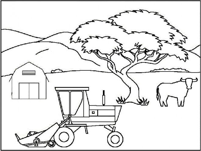 Coloriage paysage de tracteur dans la ferme dessin gratuit - Jeu de tracteur agricole gratuit ...