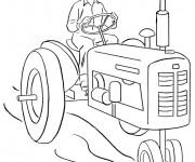 Coloriage Paysan conduit le Tracteur