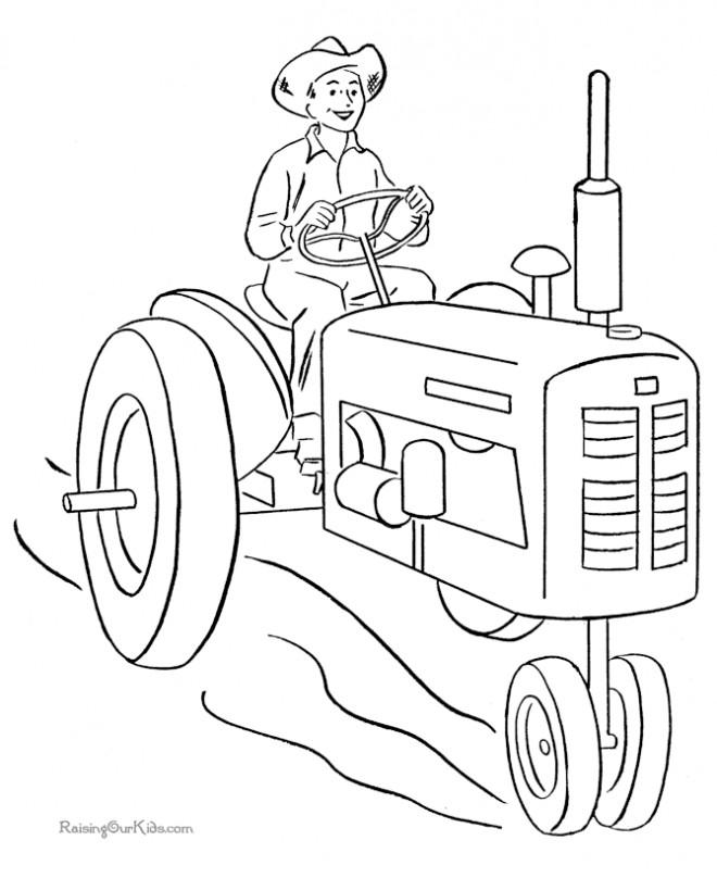 Coloriage et dessins gratuits Paysan conduit le Tracteur à imprimer