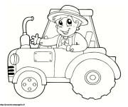 Coloriage et dessins gratuit Petit enfant sur Tracteur à imprimer